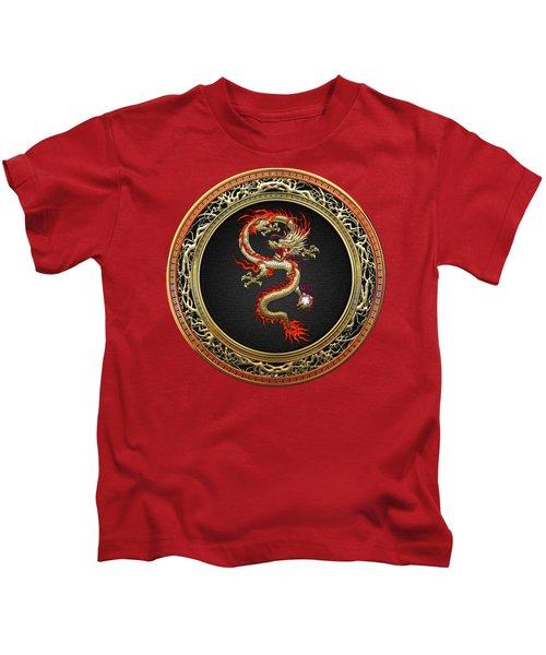 Golden Chinese Dragon Fucanglong Kids T-Shirt by Serge Averbukh