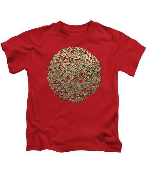 Golden Chinese Dragon On Red Leather Kids T-Shirt by Serge Averbukh