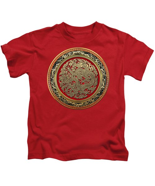 Golden Chinese Dragon On Red Velvet Kids T-Shirt by Serge Averbukh