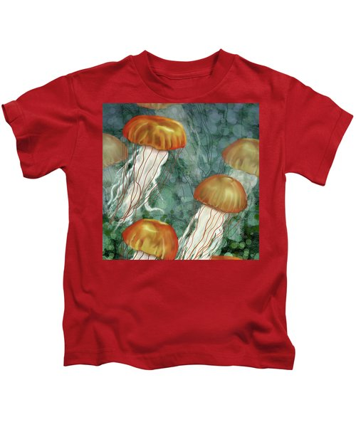 Golden Jellyfish In Green Sea Kids T-Shirt
