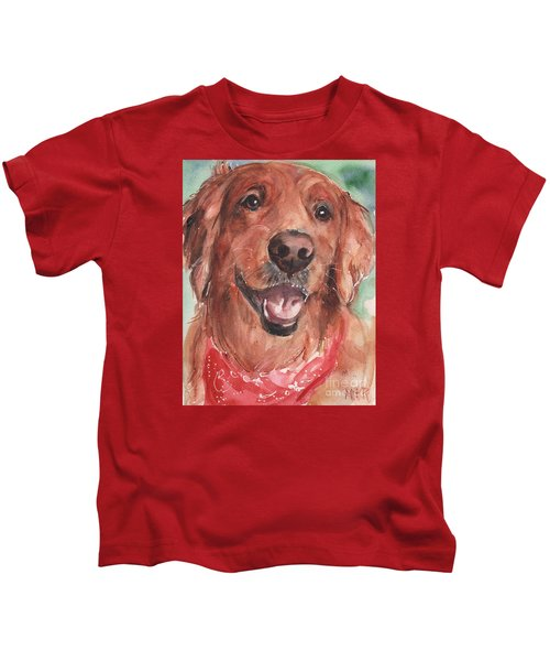 Golden Retriever Dog In Watercolori Kids T-Shirt by Maria's Watercolor