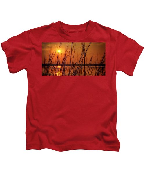 Golden Sunset At The Lake Kids T-Shirt