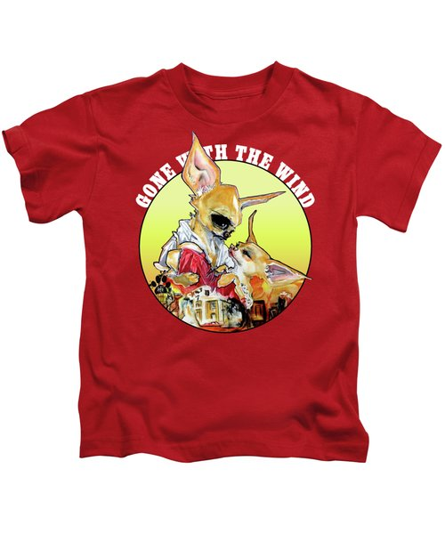 Gone With The Wind Chihuahuas Caricature Art Print Kids T-Shirt