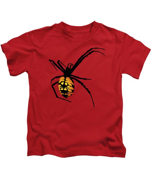 Graphic Spider Black And Yellow Orange Kids T-Shirt by MM Anderson