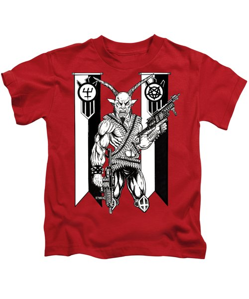Great Goat War Kids T-Shirt by Alaric Barca