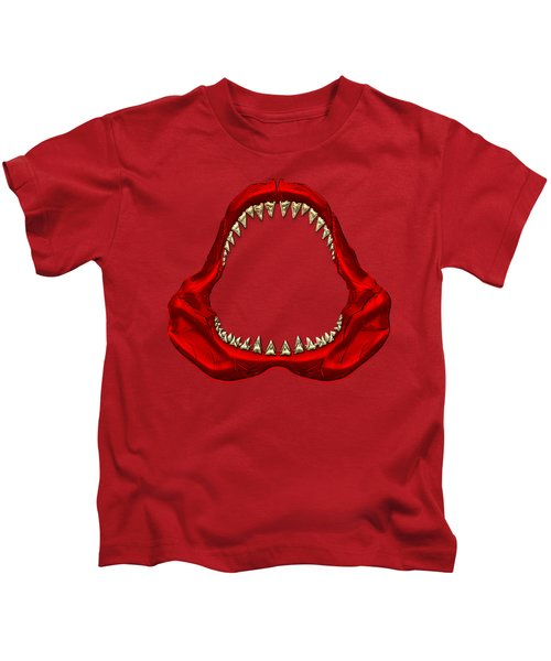 Great White Shark - Red Jaws With Gold Teeth On Red Canvas Kids T-Shirt by Serge Averbukh
