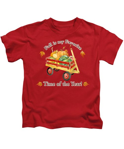 Harvest Red Wagon Pumpkins N Leaves Kids T-Shirt by Audrey Jeanne Roberts