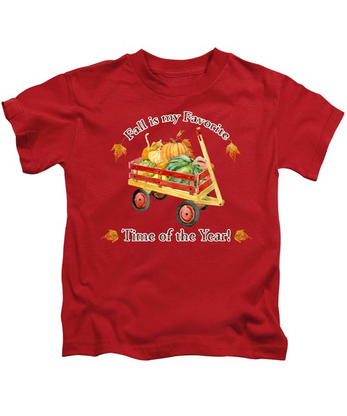 Harvest Red Wagon Pumpkins N Leaves Kids T-Shirt