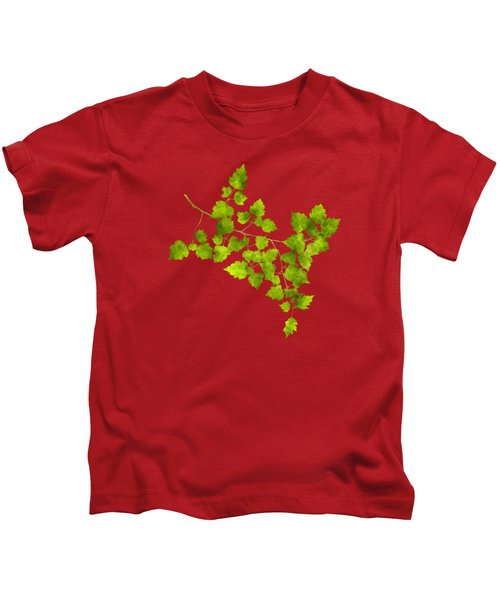Kids T-Shirt featuring the mixed media Hawthorn Pressed Leaf Art by Christina Rollo