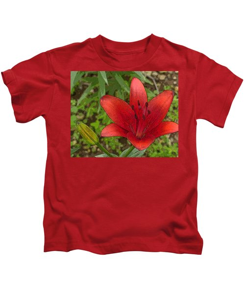 Hazelle's Red Lily Kids T-Shirt