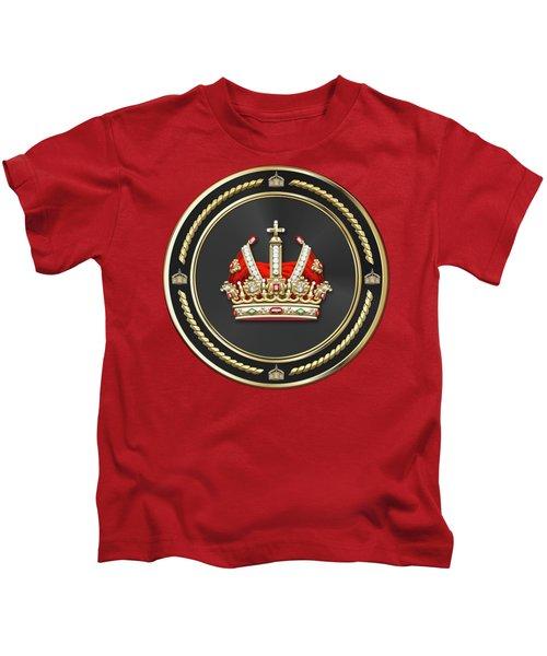 Holy Roman Empire Imperial Crown Over Red Velvet Kids T-Shirt