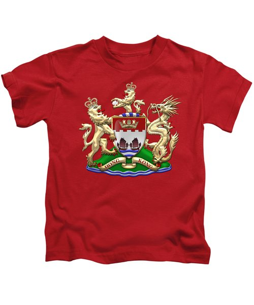 Hong Kong - 1959-1997 Coat Of Arms Over Red Leather  Kids T-Shirt by Serge Averbukh