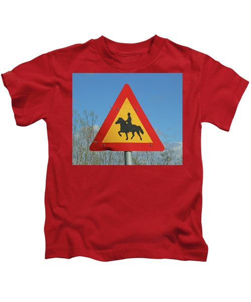 Icelandic Horse Crossing Sign Kids T-Shirt