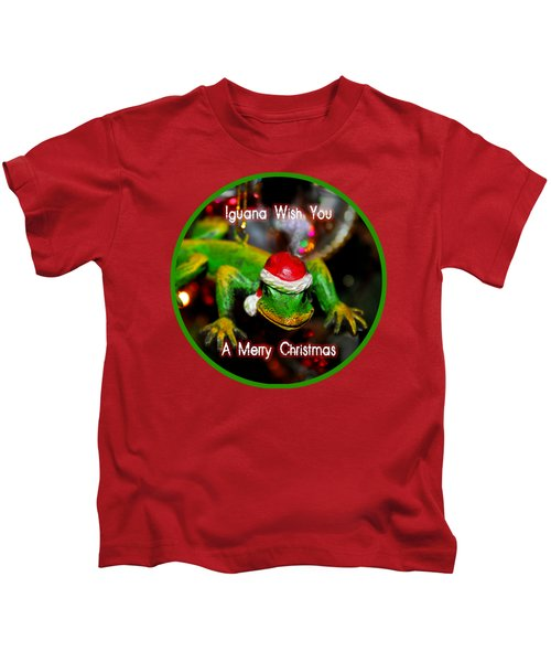 Iguana Wish You A Merry Christmas Kids T-Shirt
