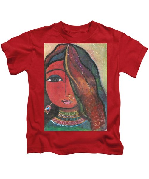 Indian Girl With Nose Ring Kids T-Shirt