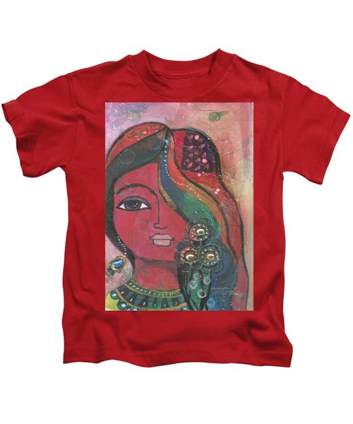Indian Woman With Flowers  Kids T-Shirt