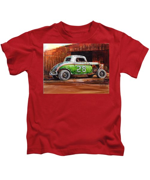 Jalopy Number 28 In Green Kids T-Shirt