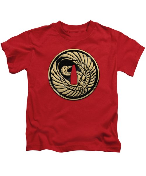 Japanese Katana Tsuba - Golden Crane On Black Steel Over Red Velvet Kids T-Shirt