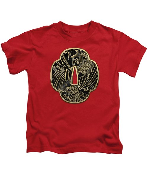 Japanese Katana Tsuba - Golden Twin Koi On Black Steel Over Red Velvet Kids T-Shirt