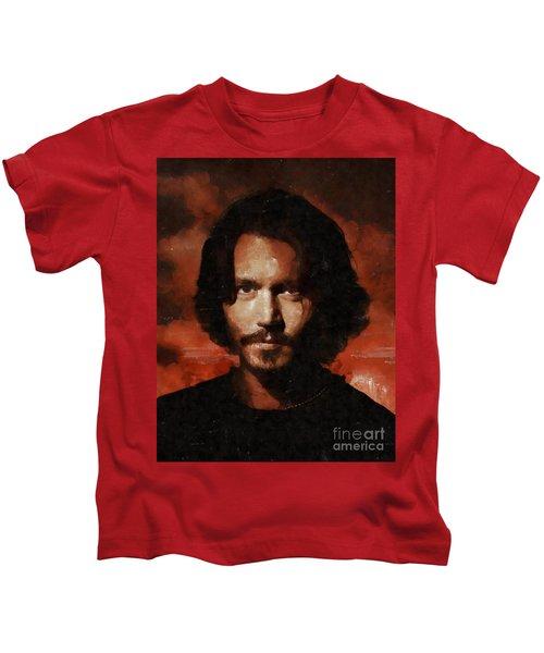 Johnny Depp, Hollywood Legend By Mary Bassett Kids T-Shirt by Mary Bassett