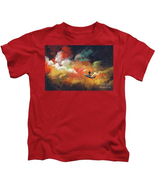 Kids T-Shirt featuring the painting Journey To Outer Space by Tithi Luadthong