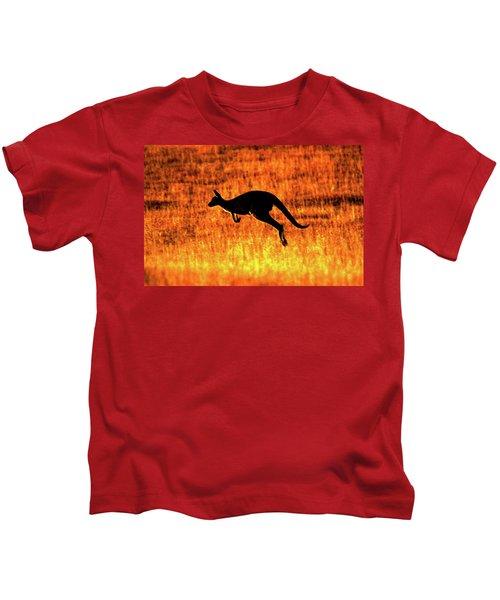 Kangaroo Sunset Kids T-Shirt by Bruce J Robinson