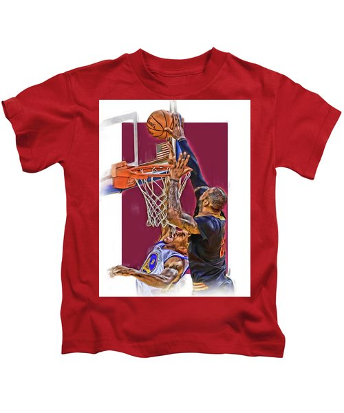 Lebron James Cleveland Cavaliers Oil Art Kids T-Shirt by Joe Hamilton