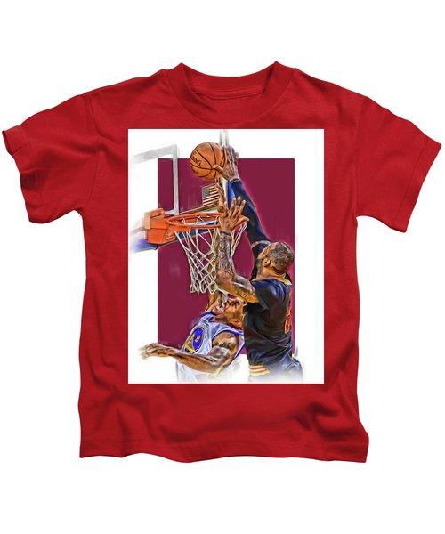 Lebron James Cleveland Cavaliers Oil Art Kids T-Shirt