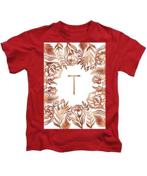 Letter T - Rose Gold Glitter Flowers Kids T-Shirt