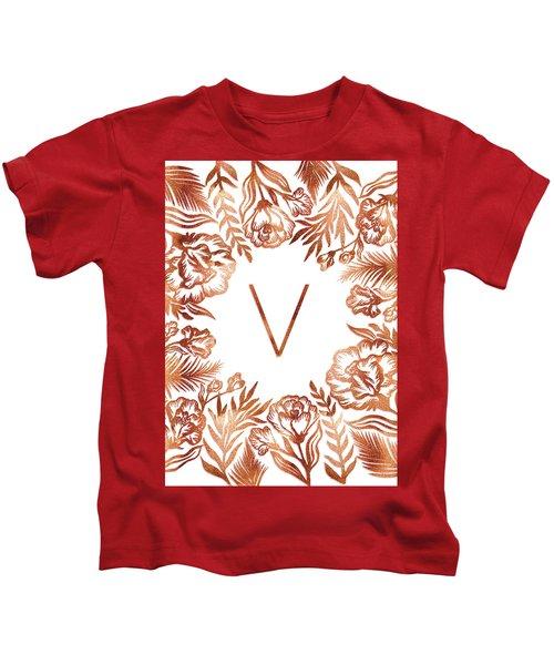 Letter V - Rose Gold Glitter Flowers Kids T-Shirt