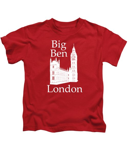 London's Big Ben In White - Vertical Kids T-Shirt