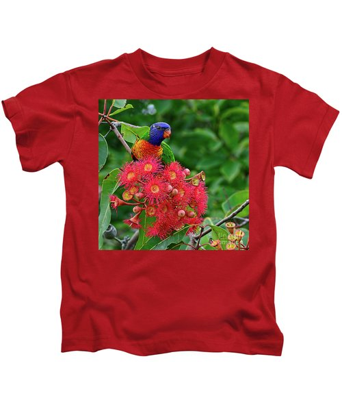 Lorikeet And Gum Nut Blossoms By Kaye Menner Kids T-Shirt