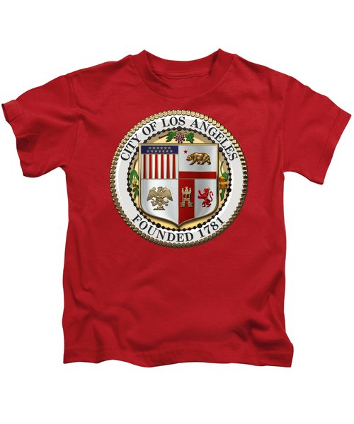 Los Angeles City Seal Over Red Velvet Kids T-Shirt by Serge Averbukh
