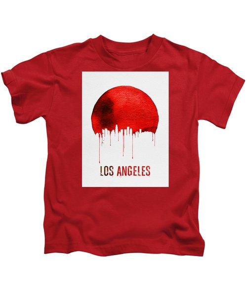 Los Angeles Skyline Red Kids T-Shirt by Naxart Studio