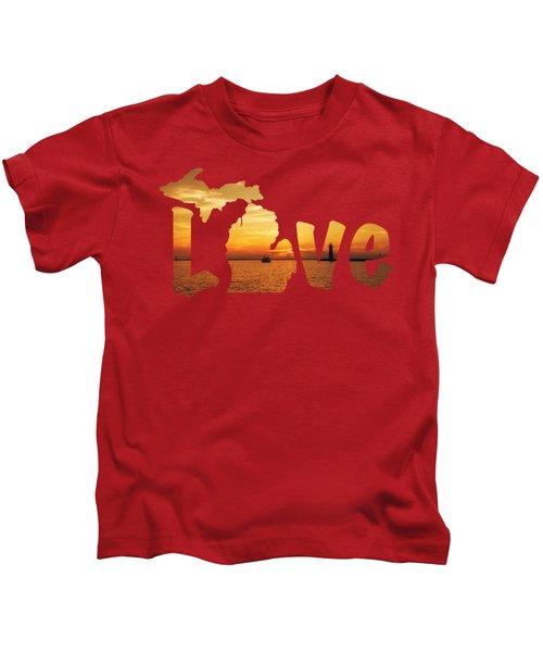 Love Lake Michigan Kids T-Shirt by Emily Kay