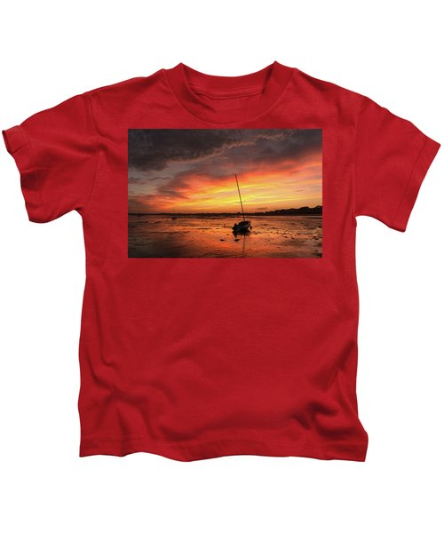 Low Tide Sunset Sailboats Kids T-Shirt