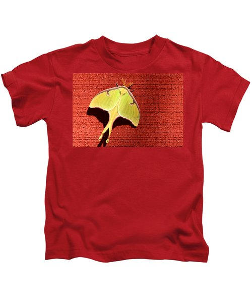Luna Moth On Red Barn Kids T-Shirt