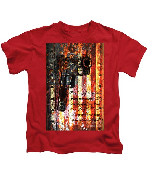 M1911 Pistol And Second Amendment On Rusted American Flag Kids T-Shirt