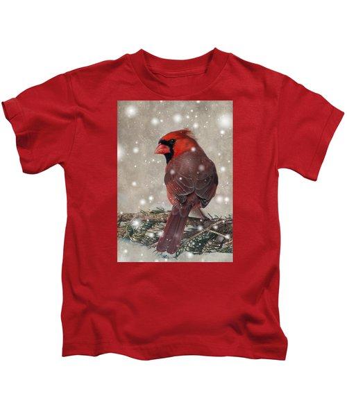 Male Cardinal In Snow #1 Kids T-Shirt