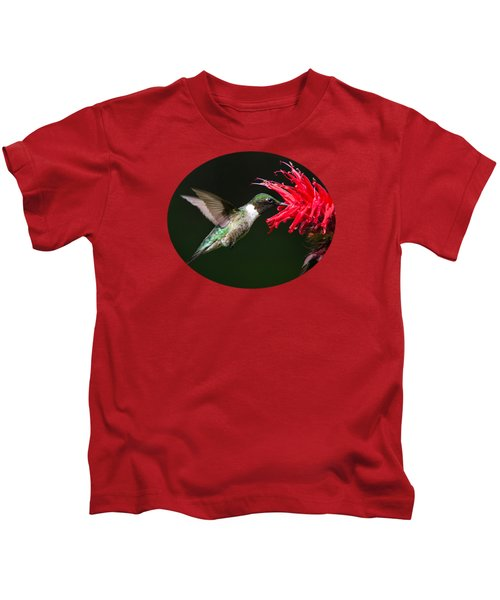 Male Ruby-throated Hummingbird With Red Flower Kids T-Shirt by Christina Rollo