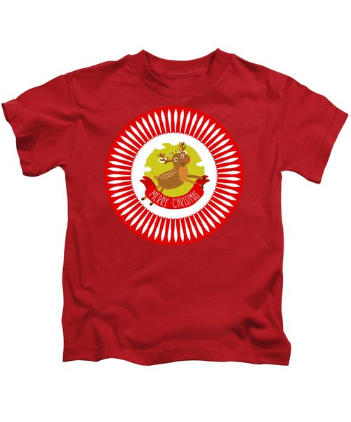 Merry Christmas Reindeer By Kaye Menner Kids T-Shirt