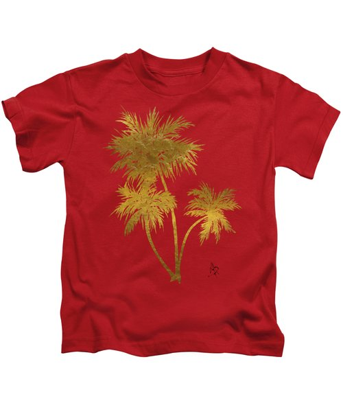 Metallic Gold Palm Trees Tropical Trendy Art Kids T-Shirt