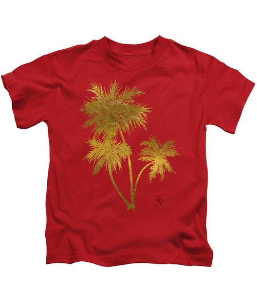 Metallic Gold Palm Trees Tropical Trendy Art Kids T-Shirt
