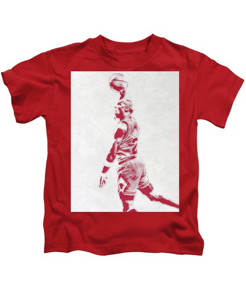 Michael Jordan Chicago Bulls Pixel Art 3 Kids T-Shirt by Joe Hamilton