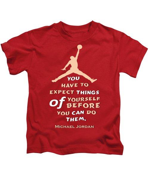 Michael Jordan Famous Basketball Players Quotes Kids T-Shirt by Creative Ideaz