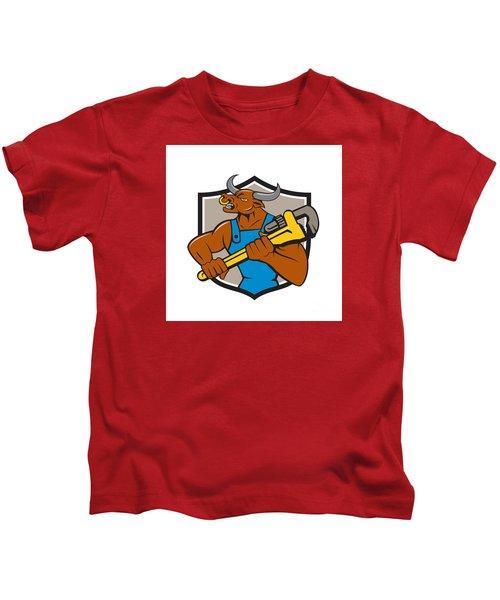 Minotaur Bull Plumber Wrench Crest Cartoon Kids T-Shirt by Aloysius Patrimonio