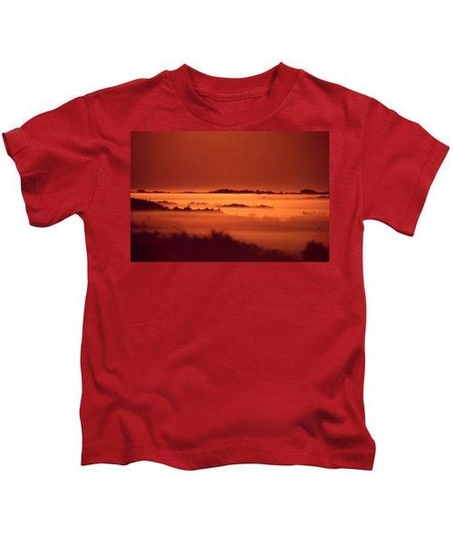 Misty Meadow At Sunrise Kids T-Shirt