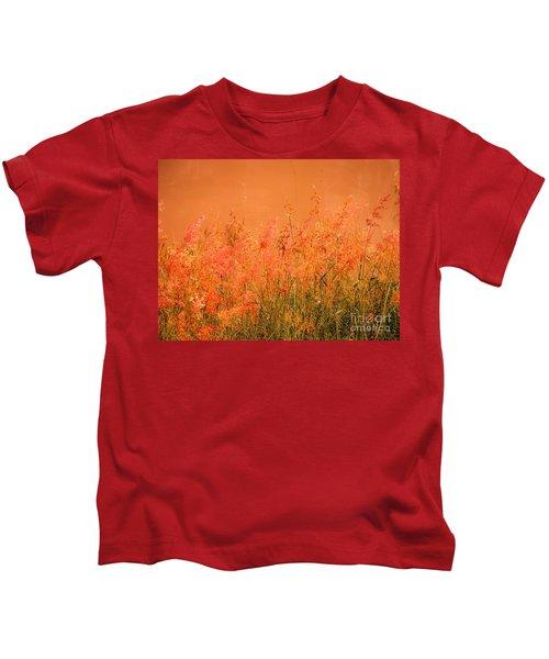 Misty Yellow Hue- Pink Blooms Kids T-Shirt
