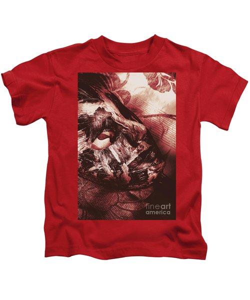 Mummified Paper Mache Horror Mask. Dark Carnival Kids T-Shirt