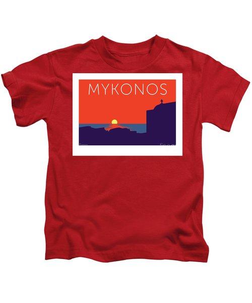 Mykonos Sunset Silhouette - Orange Kids T-Shirt